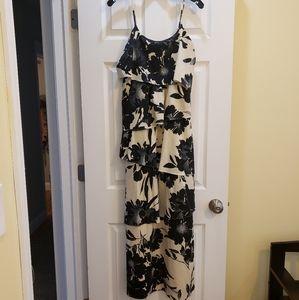 Black and Cream Floral Maxi Dress - Adjustable
